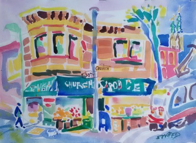 30th Street and Church (2017)_Watercolor on Paper_10.125 in x 14 in
