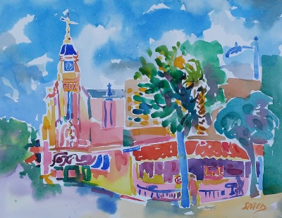 Bakersfield_20th and Eye Streets (2017)_Watercolor on Paper_15.5 in x 19.5 in