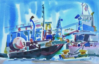 Barges, Cranes and Ships, 22 in x 29 in, 20181006.jpg