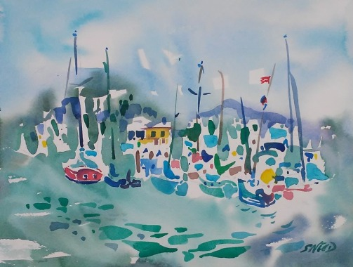 Berkeley Yacht Club and Marina (2017)_Watercolor on Paper_11.75 in x 15.125 in_$500