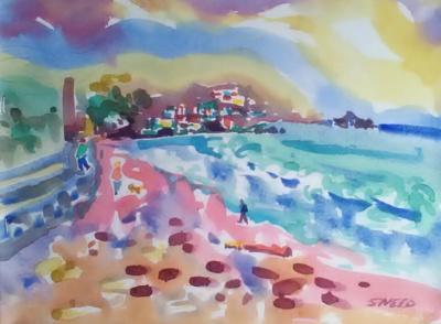 Break in the Storm, Pacifica (2017)_Watercolor on Paper_14.75 in x 17.75 in