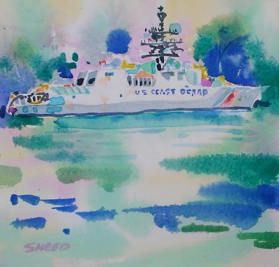 Coast Guard Home Port (2017)_Watercolor on Paper_7 in x 7.5 in