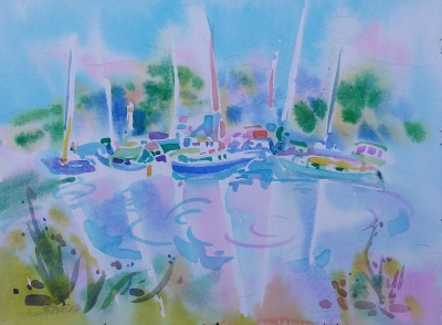 Emeryville Dream Boats (2017)_Watercolor on Paper_11.375 in x 15.375 in