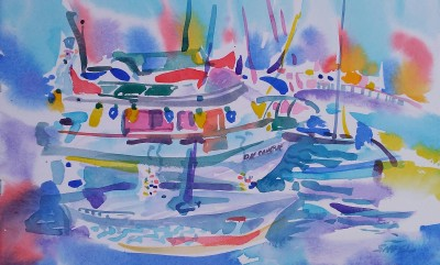 Holiday Boat Party (2017)_Watercolor on Paper_9.75 in x 15.75 in