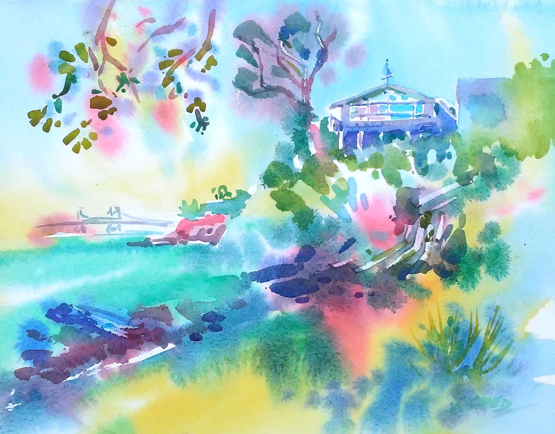 House on Bluff with Richmond Bridge, 18 in x 22 in, 20180521