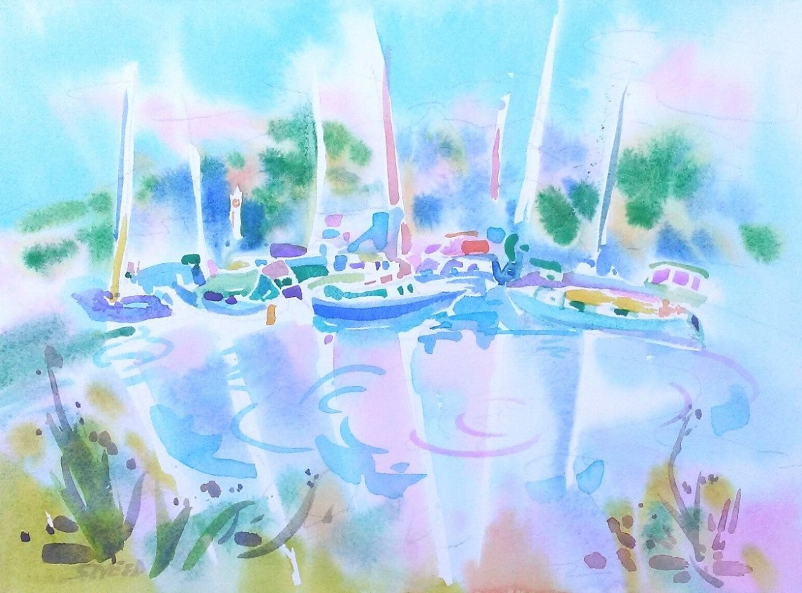 Marina Reflections, 16 in x 20 in, 20171107.jpg