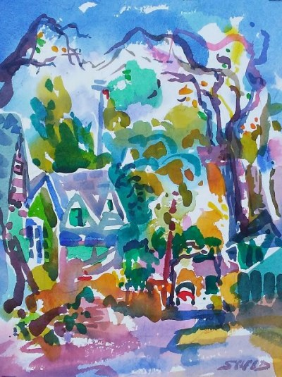 Santa Rosa Alley (2017)_Watercolor on Paper_18.875 in x 15.5 in