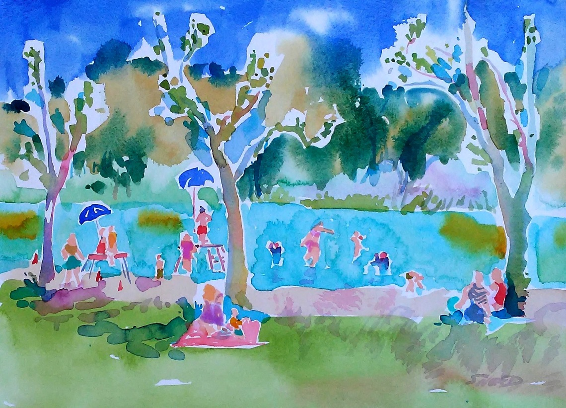 Summertime Lake Del Valle, 18 in x 22 in, 20190602, $400