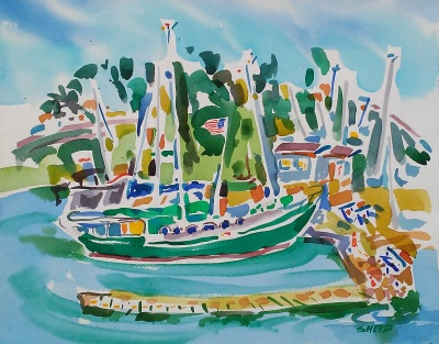 Treasure Island Marina (2017)_Watercolor on Paper_15.5 in x 19.5 in