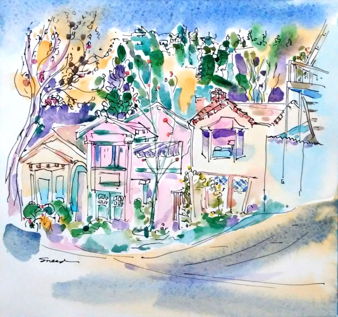 Neighbors, Santa Fe Avenue, Albany, Ink and Watercolor, 9 in x 9.5 in, 20181213.jpg