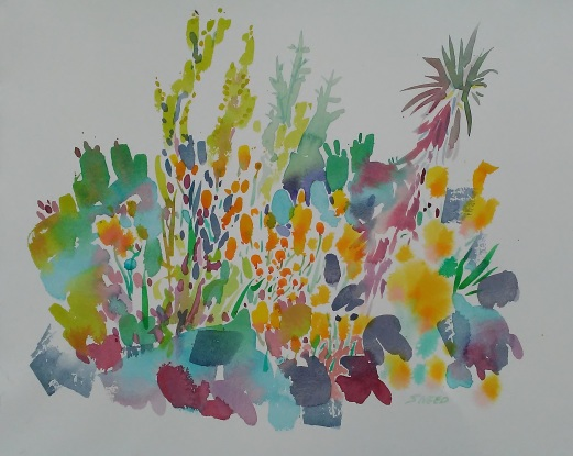 CA Poppies and Cacti, 16 in x 20 in, May 13, 2019